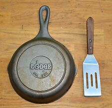 "Vintage Camping RV Lodge Cast Iron Skillet 3SK 6 1/2"" + Mini Stainless Spatula"
