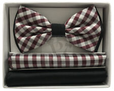 Two Tone Solid & Plaid Checkers Men's Bowtie with Two Pocket Square Hankies Prom
