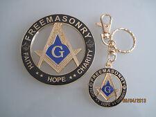 New Masonic Master Mason Cut out Car Auto Emblem & Keychain gold black