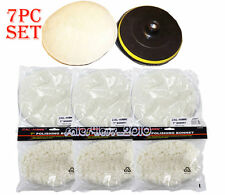 "7"" ELECTRIC CAR POLISHER/BUFFER WAXER 7PC POLISHING DETAIL PADS & BACKING WHEEL"
