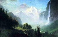 Oil painting wonderful landscape Staubbach Falls Near Lauterbrunnen Switzerland
