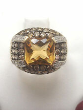 Yellow Topaz and Champagne Diamond ring
