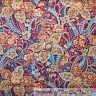 BonEful Fabric FQ Cotton Quilt Purple Orange Blue Flower Leaf Fall Thanksgiving