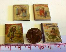 1801# Kleines Nostalgie Deko-Bücherset 4 Stück - Puppenhaus Puppenstube - M1zu12