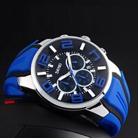 SKMEI Men Fashion Military Rubber 3D Analog Date Sport Chrono Quartz Wrist Watch