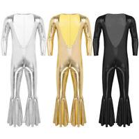 Männer Metallic Bodysuit Catsuit mit tiefer V-Ausschnitt und Schlaghose Clubwear