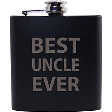 Best Uncle Ever 6oz Black Flask - Great Gift for Birthday, or Christmas Gift for