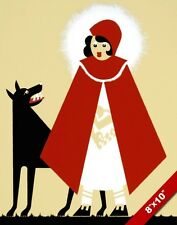 VINTAGE 1938 LITTLE RED RIDING HOOD & BAD WOLF PAINTING REAL CANVASART PRINT