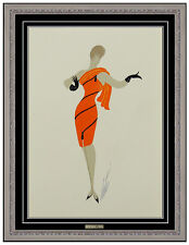 Erte Original Gouache Painting Folies Female Dress Costume Design Signed Artwork