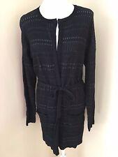 ELIE TAHARI DesignNation Large L Black Long Duster Cardigan Sweater Coat Belted