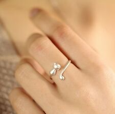 925 Sterling Silver Plated Adjustable Open Ring Thumb Lady Gift Cute Fashion Cat