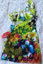 Arden B. Women's Silky One Shoulder Floral Drape Neck Dress Size M Medium NWT