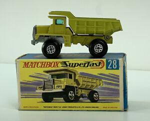 MATCHBOX LESNEY SUPERFAST BOXED MACK DUMP TRUCK No.28 OPEN STEPS 1970-73 VGC