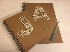 Handmade Personised Initialed Notebook Lined Natural Pad Hardback A4 Any Letter