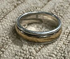James Avery Hammered Classic Gold & Silver Band Ring 14k Sterling 7.5g Size 8.5
