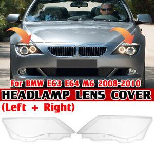 For BMW E63 E64 M6 2008-2010 Pair Left Right Headlight Cover Lamp Lens