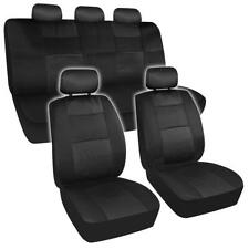 Black Breathable Mesh Full Seat Cover Set Headrest Covers for Car Truck SUV- 9PC