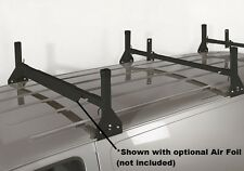 All Aluminum 3 Support Ladder Rack - Black - for 1996 1/2 & Newer Chevy/GMC Van