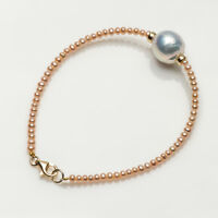 White Genuine Freshwater Kasumi Pearl Beads Bracelet 925 Sterling Silver Clasp