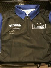 Jimmie Johnson Autograph Signed  Authentic  Lowe's Race Used Pit Crew Shirt M
