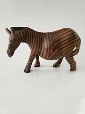 African Decor Hand Carved Wooden Zebra Safari Animal Figurine