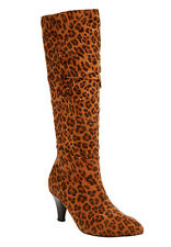 New womens SPRING MSRP $149 leopard 12 W BOOTS WIDE Calf High Heel Pull on NIB