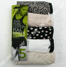 Ex M & S Ladies 5 Pack Pure Cotton Full Briefs Knickers Underwear Size 10 to 28