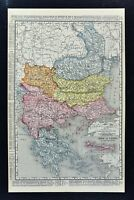 1900 Rand McNally Map Greece Balkans Turkey Bulgaria Romania Serbia Crete Athens