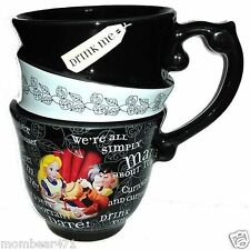Disney Parks Alice in Wonderland Triple Quotes Stacked Ceramic Teacup New