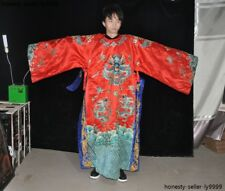 Old Chinese silk handcraft embroidery dragon imperial robe dragon robe long gown