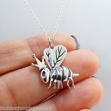 Queen Bee Charm Necklace - 925 Sterling Silver - Queen Bee Crown Bumble Bee NEW