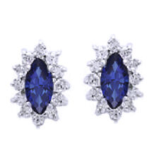 Platinum 925 Silver Stud Diamond and Blue Sapphire Clusters Earrings