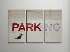 "Banksy Parking Stretched Canvas Triptych Print 48""x30"". BONUS BANKSY WALL DECAL!"