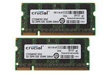 4GB 2x 2GB Crucial 2GB PC2-5300 DDR2-667MHz 200pin Sodimm Laptop Memory #915214