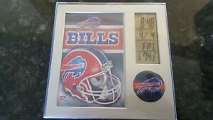 OFFICIAL BUFFALO BILLS NFL Team Desk Clock, Thermometer, Day Date,Picture Frame