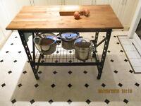 Industral Style Hardwood Top Kitchen Work Bench/Island