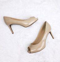 LIZ CLAIBORNE Nude Patent Peep Toe Stilettos Pumps Heels Size 10M