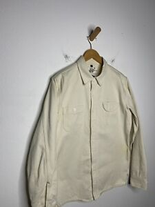 Mens Rogue Territory Large Off White Thick Shirt Work Oxford Beige Jumper READ