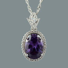 Cubic Zirconia 18K White Gold Plated Oval Purple Amethyst Pendant Free Chain
