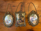 Lot of 3 Vintage Convex Fabric Victorian Pictures Ornate Metal Frames Italy