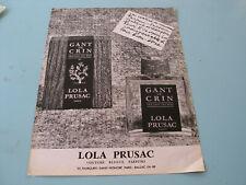 PUBLICITE MAGAZINE PARFUM GANT DE CRIN LOLA PRUSAC 1967