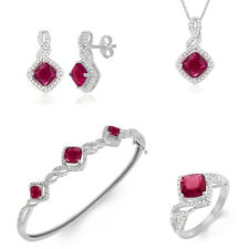 3.78ct Lab Ruby Diamonds White Gold Plated Ring Necklace Bracelet Earrings Set