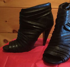 APT 9 BLACK LEATHER HIGH HEEL OPEN TOED BOOTS SHOES WOMEN'S SIZE 9