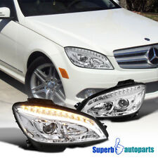 08-11 Benz W204 C-Class Projector Headlights W/ LED DRL Signal Lamps Clear Pair