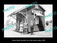 OLD LARGE HISTORIC PHOTO OF BARTON SOUTH AUSTRALIA THE RAILWAY STATION c1920