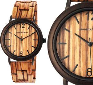 Damenuhr Quarz Armbanduhr edle Holzuhr Braun Edelstahl von Leonardo Verrelli