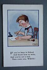 R&L Postcard: Comic, Millar & Lang, Letter Writing Poem, Smoking Pipe Ink Pot