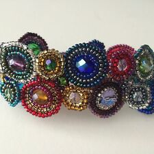 Czech Glass Bead Multi-color Halo BRACELET Cuff Bangle Shamballa Boho Hippie