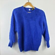 Fuzzy 35% Angora Vintage New Old Stock Blue Beaded Embroidered Goldberg Sweater