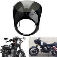 7 Zoll Motorrad Scheinwerfer Verkleidung mit Windschilder Schwarz für Cafe Racer